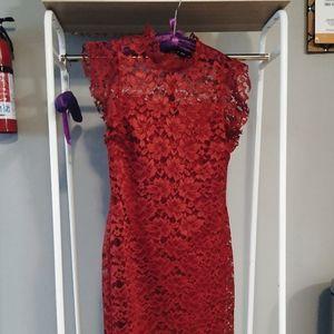 Red midi lace dress